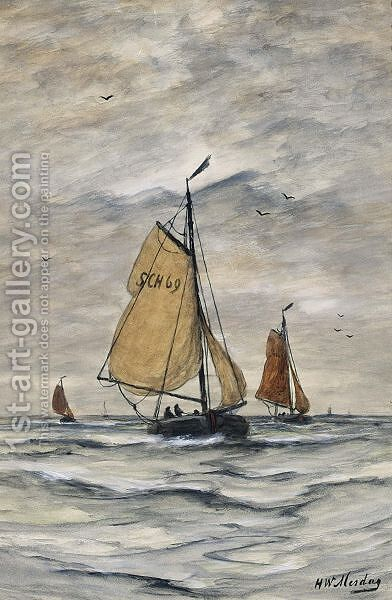 Bomschuiten At Sea 2 by Hendrik Willem Mesdag - Reproduction Oil Painting