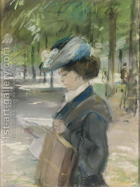 Exciting Reading (A Midinette In The Bois De Boulogne, Paris) by Isaac Israels - Reproduction Oil Painting