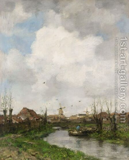 Landscape Near The Hague by Jacob Henricus Maris - Reproduction Oil Painting