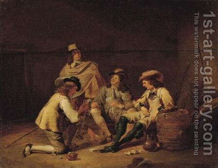 A Guardroom Interior With Soldiers Playing Cards And Smoking by Jan Olis - Reproduction Oil Painting