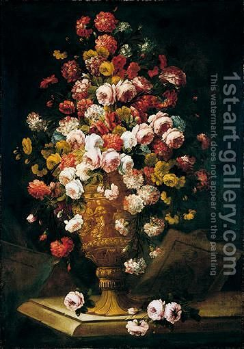 A Still Life Of Roses And Carnations In A Sculpted Urn Upon A Stone Ledge by (after) Jean-Baptiste Monnoyer - Reproduction Oil Painting