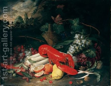 Still Life Of A Lobster, Leeks, Carrots, Radishes, Cabbage, Grapes, Oranges, Lemons, Cherries And Walnuts, Together With A Flagon Of Wine, In A Landscape Setting by Jan Pauwel Gillemans The Elder - Reproduction Oil Painting
