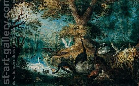 A River Landscape With Fowl by (after) Roelandt Jacobsz Savery - Reproduction Oil Painting