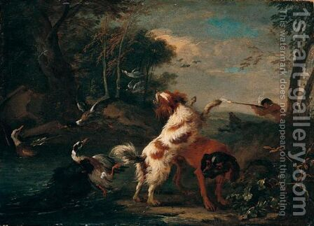 River Landscape With A Huntsman Shooting Duck, Spaniels And Other Dogs In The Foreground by Adriaen de Gryef - Reproduction Oil Painting