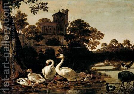A River Landscape With Swans, Geese, Mallard, Tufted Duck And A Magpie, A Church On A Hill-Top Beyond by Dirck Wijntrack - Reproduction Oil Painting