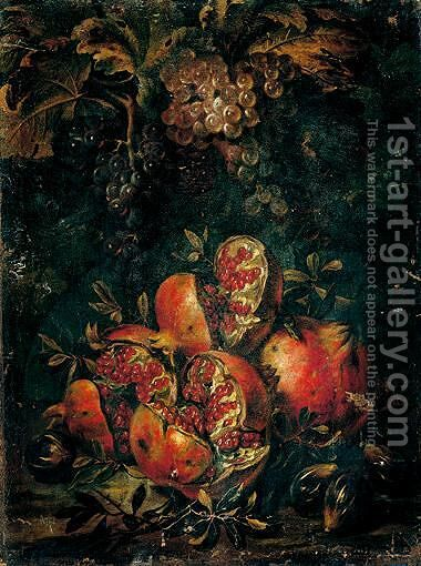 Still Life Of Pomegranates, Figs And Grapes In A Landscape Setting by (after) Abraham Brueghel - Reproduction Oil Painting