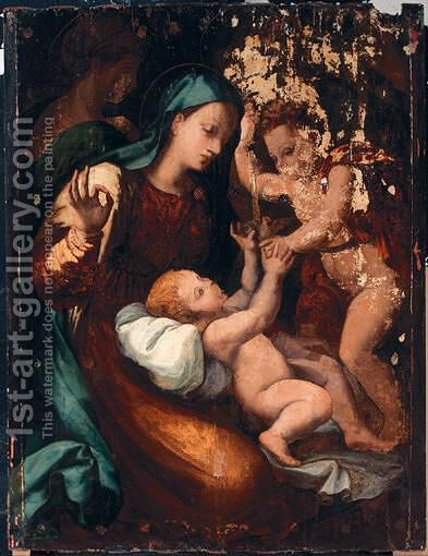 The Madonna And Child With The Infant Saint John The Baptist by (after) Perino Del Vaga (Pietro Bonaccors) - Reproduction Oil Painting