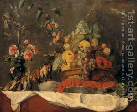 Still Life Of Fruit In A Wicker Basket, Together With A Lobster And Blue And White Porcelain Dish, Song Birds, Artichokes And A Vase Of Roses by (after) Frans Snyders - Reproduction Oil Painting