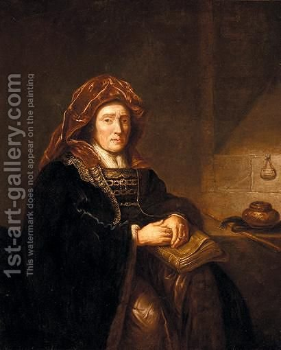 Portrait Of An Old Lady Seated In An Interior, Holding A Book And Spectacles by (after) Harmenszoon Van Rijn Rembrandt - Reproduction Oil Painting