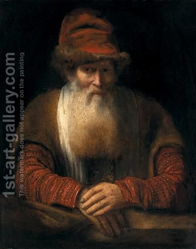 Portrait Of An Old Bearded Man, Half-Length, Wearing A Red Hat And A Brown Coat, Resting On A Ledge by (after) Aert De Gelder - Reproduction Oil Painting
