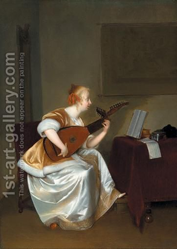 A Woman Playing A Lute by (after) Gerard Ter Borch - Reproduction Oil Painting