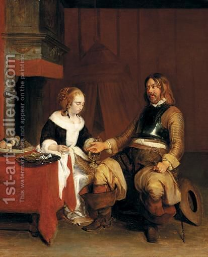 A Soldier Offering A Young Woman Coins by (after) Gerard Ter Borch - Reproduction Oil Painting