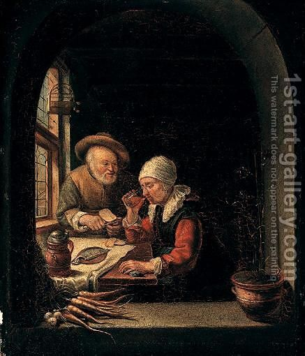 Interior Scene With An Old Couple Eating Next To A Window by (after) Frans Van The Elder Mieris - Reproduction Oil Painting