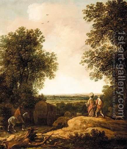 A Landscape With Waggoners by (after) Pieter Molijn - Reproduction Oil Painting