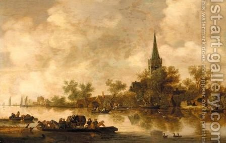 An Estuary Landscape With A Ferryboat And A Church Beyond by (after)  Jan Van Goyen - Reproduction Oil Painting