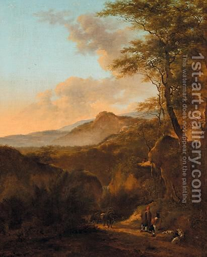 Travellers In An Italianate Landscape by (after) Jan Both - Reproduction Oil Painting