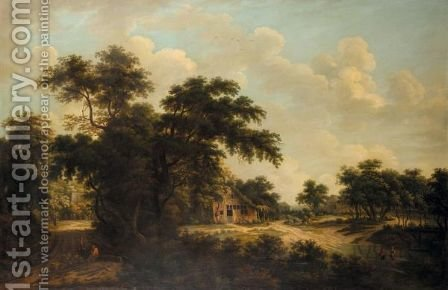 A Wooded Landscape With A Farmhouse by (after) Meindert Hobbema - Reproduction Oil Painting