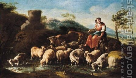 A Shepherdess With Sheep, Goats And Cattle Crossing A Stream by Domenico Brandi - Reproduction Oil Painting