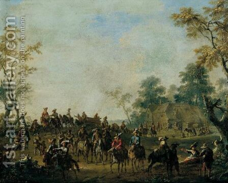 A Landscape With Travellers Leaving An Inn by (after) Franz Ferg - Reproduction Oil Painting