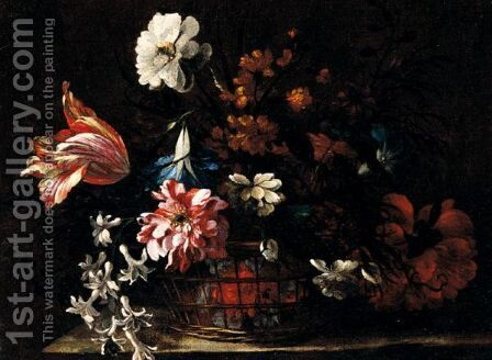 Still Life Of A Basket Of Flowers Upon A Stone Ledge by (after) Nicolas Baudesson - Reproduction Oil Painting