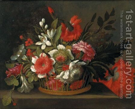 Still Life Of Flowers In A Wicker Basket Upon A Stone Ledge by (after) Bartolome Perez - Reproduction Oil Painting