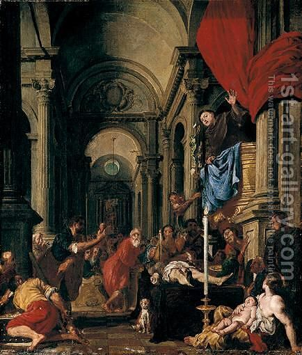 Saint Anthony Of Padua Preaching About The Miser's Heart by Giovanni Carboncini - Reproduction Oil Painting