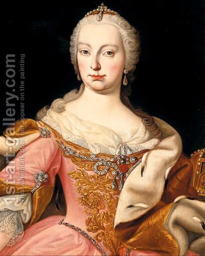 Portrait Of Maria Theresa Of Austria (1717 - 1780) by (after) Martin II Mytens Or Meytens - Reproduction Oil Painting