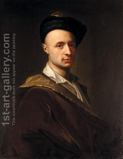 Portrait Of A Man, Half-Length, Wearing A Black Hat by (after) Francesco Trevisani - Reproduction Oil Painting