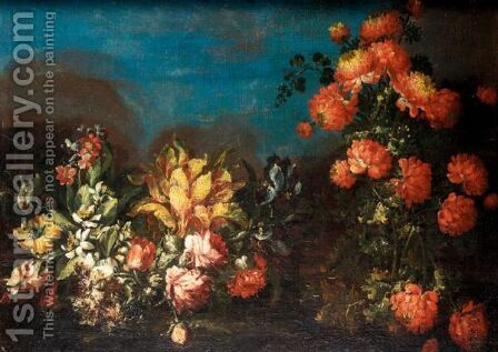 Still Life With Various Flowers In A Landscape by (after) Elisabetta Marchioni - Reproduction Oil Painting