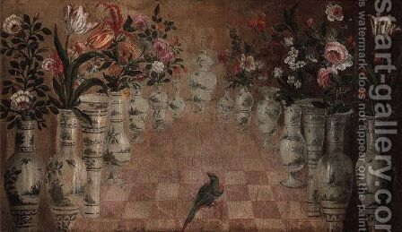 A Terrace With Flowers Arranged In Chinese Vases, A Green Parrot In The Centre by (after) Tomas Hiepes - Reproduction Oil Painting