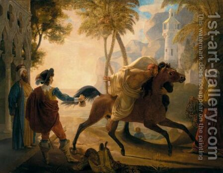 A Coastal Landscape With A Cavalier Purchasing An Arab Stallion by (after) Pierre Nolasque Bergeret - Reproduction Oil Painting