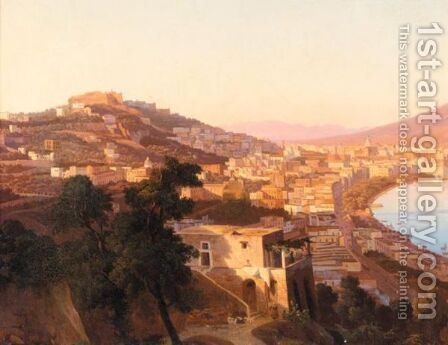 Naples, A View Of The Bay From The North With The Castel Sant'Elmo And The Certosa Di San Martino by Italian School - Reproduction Oil Painting
