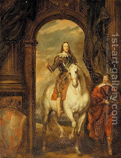 Equestrian Portrait Of Charles I With Monsieur De St. Antoine by (after) Dyck, Sir Anthony van - Reproduction Oil Painting