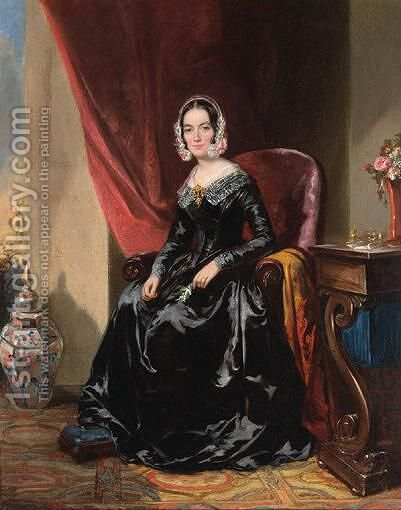 Portrait Of A Lady by (after) Thomas Junior Richmond - Reproduction Oil Painting