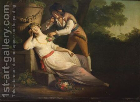 Lovers In A Garden by (after) William Hamilton - Reproduction Oil Painting