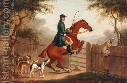 Over The Gate by (after) James Seymour - Reproduction Oil Painting