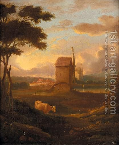 The Windmill by Continental School - Reproduction Oil Painting