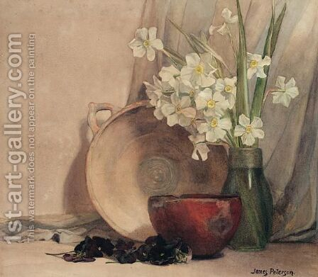 Still Life Of Flowers With A Bowl by James Paterson - Reproduction Oil Painting