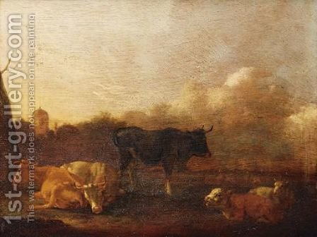 Cattle In A Landscape by (after) Adriaen Van De Velde - Reproduction Oil Painting