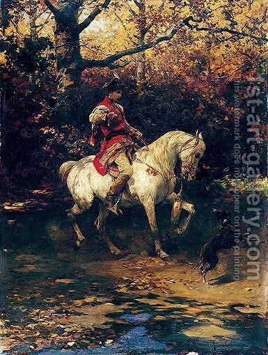 Prince Lubomirski On Horseback by Alfred Wierusz-Kowalski - Reproduction Oil Painting