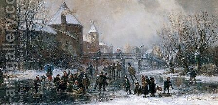 Schlittschuhlaufer (Skaters On A Frozen River) by Adolf Stademann - Reproduction Oil Painting