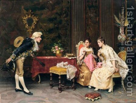 L'Intermezzo (The Interlude) by Adriano Cecchi - Reproduction Oil Painting