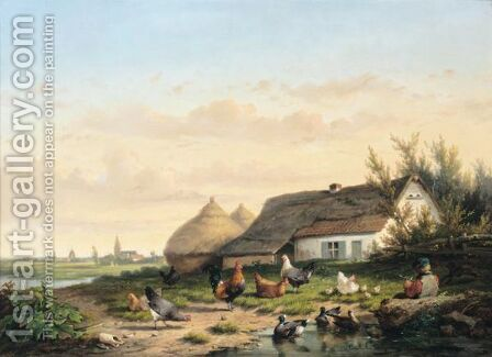 Farmyard With Chicken And Ducks by Cornelis van Leemputten - Reproduction Oil Painting