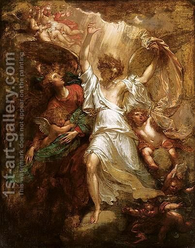 Angels Appearing To The Shepherds by Benjamin West - Reproduction Oil Painting