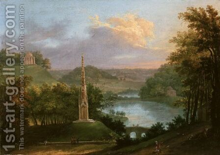 View Of The Park At Stourhead With Figures By The Monument by Copplestone Warre Bamfylde - Reproduction Oil Painting