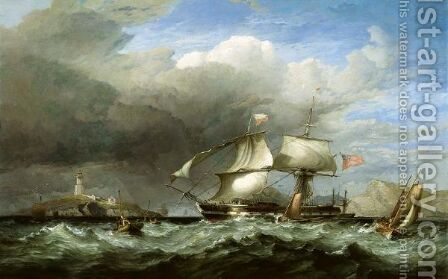 Dropping Off The Swansea Pilot Busy Shipping Off Mumbles Head by James Harris of Swansea - Reproduction Oil Painting