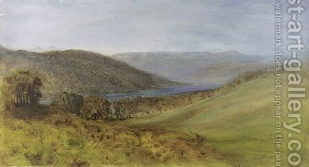 A landscape with a river and hills by Bernard Walter Evans - Reproduction Oil Painting