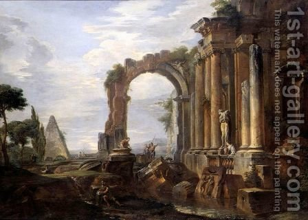 A Capriccio Of Classical Ruins With The Pyramid Of Caius Cestius, An Arch, A Ruined Temple With Ionic Columns And A Statue Of Venus, Figures Standing By A Water-Pool Nearby by Giovanni Paolo Panini - Reproduction Oil Painting