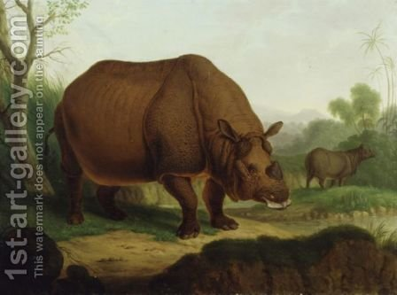 A Rhinoceros by Christian Wilhelm Karl Kehrer - Reproduction Oil Painting