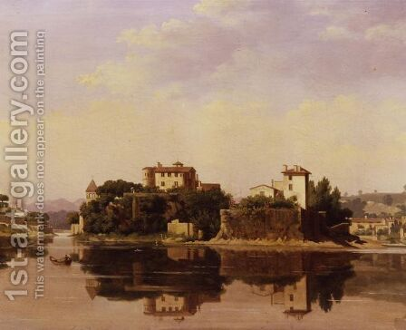 View Of The Isle Of Barbe On The Saone River, Lyon by Andre-Jean-Antoine Despois - Reproduction Oil Painting